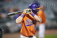 Kyle Wilkie (10) of the Clemson Tigers at bat against the Charlotte 49ers at BB&T BallPark on March 26, 2019 in Charlotte, North Carolina. The Tigers defeated the 49ers 8-5. (Brian Westerholt/Four Seam Images)