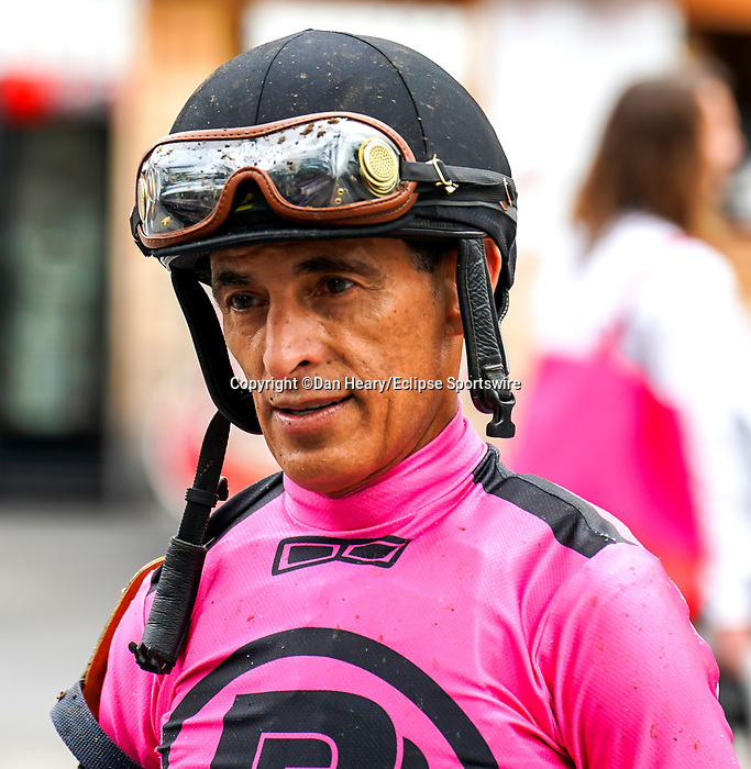 July 17, 2021: Jockey John Velazquez before a race on opening weekend at Saratoga Race Course in Saratoga Springs, N.Y. on July 17, 2021. Dan Heary/Eclipse Sportswire/CSM