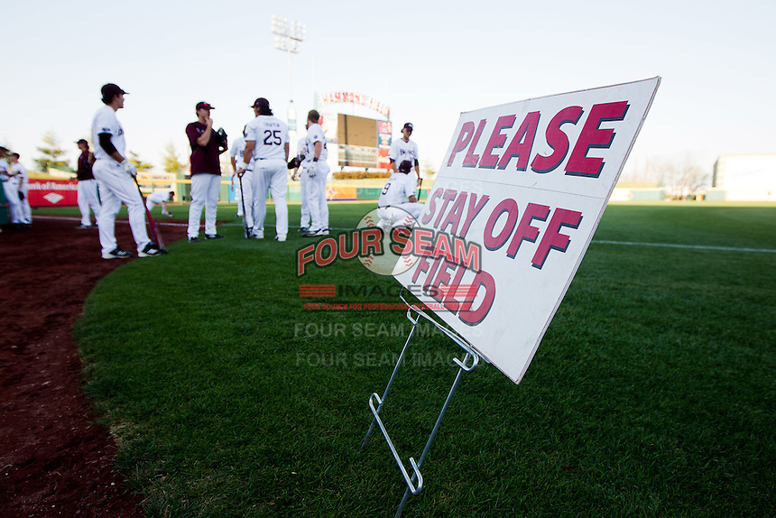 Members of the Missouri State Bears stand in foul territory prior to a game against the Purdue Boilermakers at Hammons Field on March 13, 2012 in Springfield, Missouri. (David Welker / Four Seam Images)