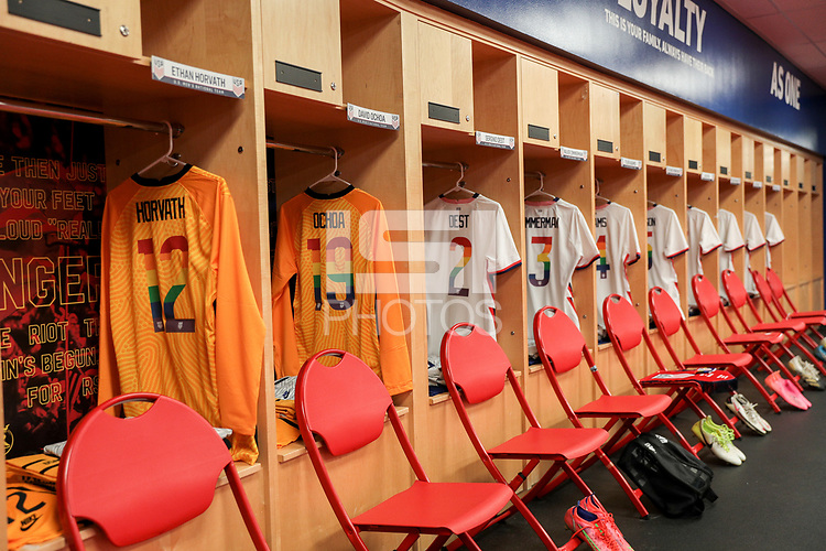 SANDY, UT - JUNE 10: USA locker room during a game between Costa Rica and USMNT at Rio Tinto Stadium on June 10, 2021 in Sandy, Utah.