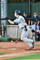 Pulaski Yankees first baseman Eric Wagaman (60) swings at a pitch during a game against the Elizabethton Twins at Joe O'Brien Field on June 27, 2016 in Elizabethton, Tennessee. The Yankees defeated the Twins 6-4. (Tony Farlow/Four Seam Images)
