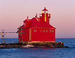 Door County, WI<br /> The red Sturgeon Bay Canal North Pierhead Lighthouse on Lake Michigan