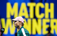 19th November 2020; O2, London;  Rafael Nadal of Spain is interviewed after winning the singles group match against StefanTsitsipas of Greece at the ATP, Tennis World Tour Finals 2020 in London