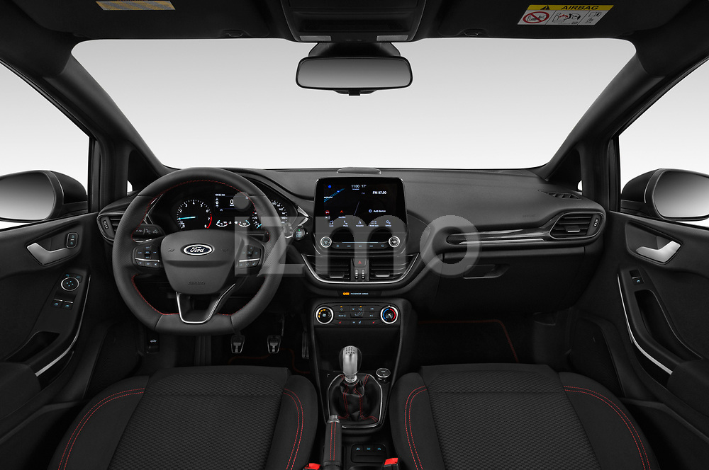 Stock photo of straight dashboard view of a 2019 Ford Fiesta ST-Line 5 Door Hatchback