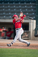 Orem Owlz second baseman Justin Jones (33) breaks his bat during a Pioneer League game against the Missoula Osprey at Ogren Park Allegiance Field on August 19, 2018 in Missoula, Montana. The Missoula Osprey defeated the Orem Owlz by a score of 8-0. (Zachary Lucy/Four Seam Images)