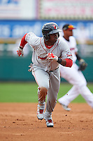 Pawtucket Red Sox outfielder Rusney Castillo (31) running the bases during a game against the Rochester Red Wings on July 1, 2015 at Frontier Field in Rochester, New York.  Rochester defeated Pawtucket 8-4.  (Mike Janes/Four Seam Images)