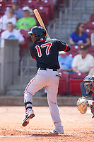 Lansing Lugnuts third baseman Gustavo Pierre #17 bats during a game against the Cedar Rapids Kernels at Veterans Memorial Stadium on April 30, 2013 in Cedar Rapids, Iowa. (Brace Hemmelgarn/Four Seam Images)