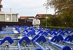 Pictured: Bernie Lucker, amongst the 65 trollies in his backgarden in Andover, Hants.<br /> <br /> Former supermarket worker Bernie Lucker has admitted he is off his trolley - after collecting 65 abandoned shopping carts and storing them all on his patio.  The exasperated father of three found 30 of them lying around near his house in just one evening and decided to take them home.<br /> <br /> And in the three weeks since he first started, the 65-year-old has more than doubled his collection, much to his wife's bemusement.  He is now hoping the trollies - which measure 260 feet when lined up - will finally get taken off his hands, after repeatedly contacting Tesco to get them picked up.  SEE OUR COPY FOR MORE DETAILS.<br /> <br /> © Ewan Galvin/Solent News & Photo Agency<br /> UK +44 (0) 2380 458800