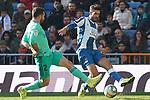 Real Madrid's Dani Carvajal (l) and RCD Espanyol's Didac Vila during La Liga match. December 7,2019. (ALTERPHOTOS/Acero)