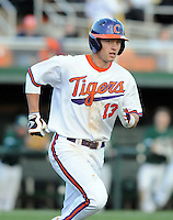 Third baseman Jay Baum (13) of the Clemson Tigers in a game against the William & Mary Tribe on Opening Day, Friday, February 15, 2013, at Doug Kingsmore Stadium in Clemson, South Carolina. Clemson won, 2-0. (Tom Priddy/Four Seam Images)