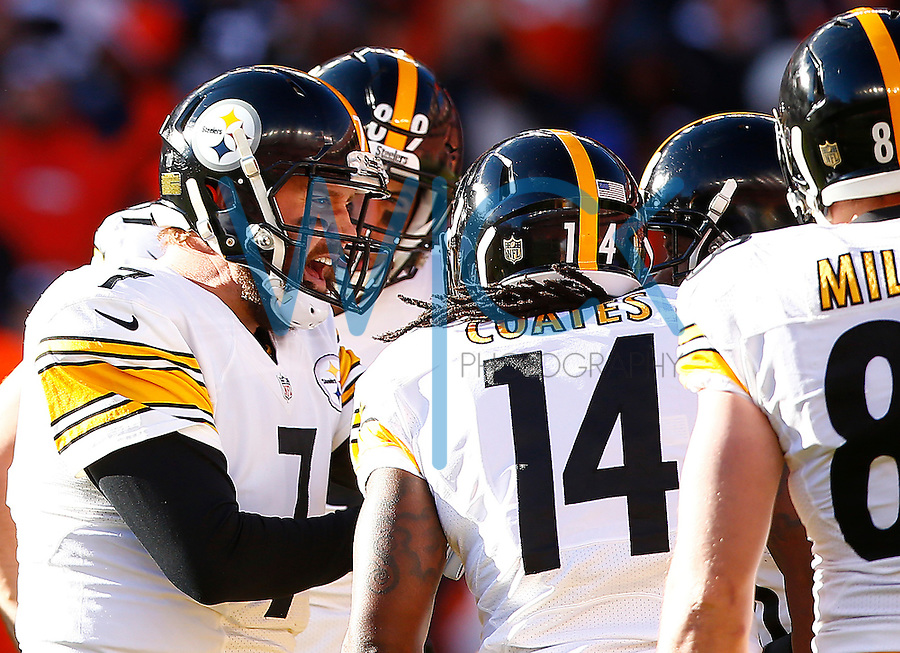 Ben Roethlisberger #7 of the Pittsburgh Steelers calls a play in the huddle against the Denver Broncos in the first half during the AFC Divisional Round Playoff game at Sports Authority Field at Mile High on January 17, 2016 in Denver, Colorado. (Photo by Jared Wickerham/DKPittsburghSports)