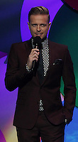 20/11/13<br /> Nicky Byrne pictured presenting the Cheerios Childline Concert at the O2 Dublin this eveningð. <br /> Pic Collins Photos