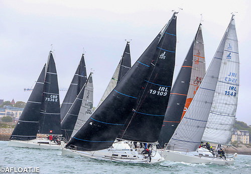 The Impressive tightly packed start of the first Viking Marine sponsored ISORA coastal event with winner Outrajeous (IRL 191909) to leeward and second placed John O'Gorman's Hot Cookie (GBR 7536R)