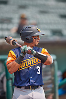 Carlos Pèrez (3) of the Las Vegas Aviators on deck against the Salt Lake Bees at Smith's Ballpark on July 25, 2021 in Salt Lake City, Utah. The Aviators defeated the Bees 10-6. (Stephen Smith/Four Seam Images)