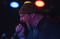 Singer Brock Lindow belts out another favorite as Anchorage's homegrown metal gods 36 Crazyfists perform during a pre-halloween show at Chilkoot Charlie's.
