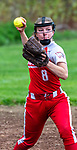 WOLCOTT, CT 051021JS29—Wolcott's Kayla Nuehlen (8) throws to first for the out during their NVL softball game with Torrington Monday at Wolcott High School. Jim Shannon Republican American