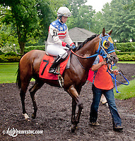Fraidy with Eilidh Grant aboard before The International Ladies Fegentri Race at Delaware Park on 6/10/13
