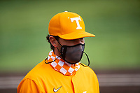 Tennessee Volunteers coach Tony VItello (22) walks to the dugout during the game against the Vanderbilt Commodores on Robert M. Lindsay Field at Lindsey Nelson Stadium on April 17, 2021, in Knoxville, Tennessee. (Danny Parker/Four Seam Images)