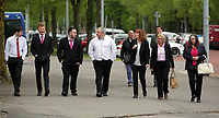 COPY BY TOM BEDFORD<br /> Pictured: Jackie Taylor (2nd L) the mother of Sophie Taylor, arrives with friends and family at Cardiff Crown Court. Monday 24 April 2017<br /> Re: A woman is due to stand trial in connection with the death of a young woman in Cardiff last summer.<br /> Melissa Pesticcio has denied four offences in relation to the death of 22-year-old Sophie Taylor in the early hours of August 22 2016.<br /> 23-year-old Pesticcio entered not guilty pleas to two counts of dangerous driving and two of aiding and abetting her co-defendant Michael Wheeler.<br /> Michael Wheeler, 22, pleaded guilty in December to causing death and serious injury by dangerous driving.<br /> Lewis Hall, a third defendant, was sentenced in January after he admitted intending to pervert the course of justice.