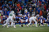 Buffalo Bills quarterback Josh Allen (17) under center Ryan Groy (72) during an NFL football game against the New York Jets, Sunday, December 9, 2018, in Orchard Park, N.Y.  (Mike Janes Photography)