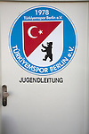 Turkiyemspor Berlin 3 BSC Rehberge 0, 22/11/2015. Willy-Kressmann-Stadion, Berlin Landesliga. The badge of Turkiyemspor Berlin on display at the club's ground the Willy-Kressmann-Stadion before they played BSC Rehberge in a Berlin Landesliga fixture which they won 3-0. The club was formed in 1978 to represent members of Berlin's large Turkish community and achieved several promotions and local cup wins throughout the first 15 years of their existence. Since then, financial problems have led to successive relegations and they now find themselves in the city's second division. Photo by Colin McPherson.