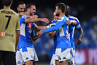 Amin Younes of SSC Napoli celebrates with team mates after scoring the goal of 3-1 during the Serie A football match between SSC Napoli and SPAL at stadio San Paolo in Naples ( Italy ), June 28th, 2020. Play resumes behind closed doors following the outbreak of the coronavirus disease. <br /> Photo Carmelo Imbesi / Insidefoto