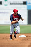 Andrew Stevenson (35) of the Hagerstown Suns takes off for third base during the game against the Kannapolis Intimidators at CMC-Northeast Stadium on August 16, 2015 in Kannapolis, North Carolina.  The Suns defeated the Intimidators 7-2 in game one of a double-header.  (Brian Westerholt/Four Seam Images)