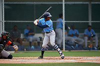 Tampa Bay Rays K.V. Edwards (54) bats during a Minor League Spring Training game against the Baltimore Orioles on March 16, 2019 at the Buck O'Neil Baseball Complex in Sarasota, Florida.  (Mike Janes/Four Seam Images)