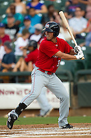 Oklahoma City RedHawks designated hitter Jake Goebbert #3 at bat during the Pacific Coast League baseball game against the Round Rock Express on June 15, 2012 at the Dell Diamond in Round Rock, Texas. The Express shutout the RedHawks 2-1. (Andrew Woolley/Four Seam Images).