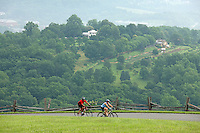 Cyclists ride down the Monticello trail to Mount Alto to view Monticello June 18, 2009 in Charlottesville, Va.