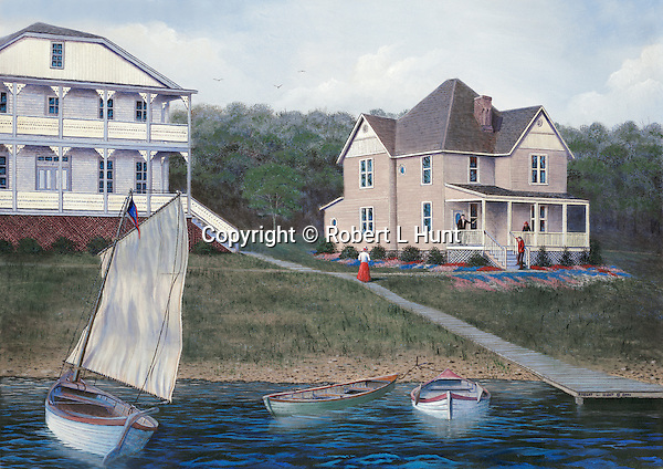 """Sailing on Lake Conemaugh by Victorian houses in the Spring 0f 1888 before the Johnstown Flood. Oil on canvas, 18"""" x 26""""; fine art lithographs also available."""
