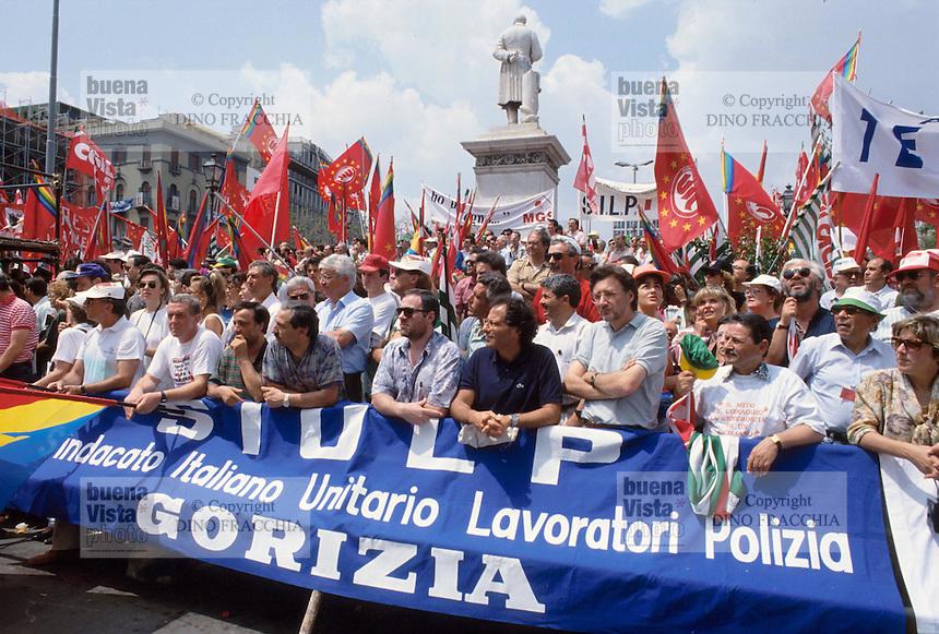 - Palermo, demonstration against the mafia organized by the labor unions, adherents to police labor union SIULP ....- Palermo, manifestazione contro la mafia organizzata dai sindacati, aderenti al sindacato di polizia SIULP