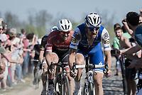 Tom Boonen (BEL/Quick-Step Floors) at the infamous Carrefour de l'Arbre sector followed closely by John Degenkolb (DEU/Trek-Segafredo)<br /> <br /> 115th Paris-Roubaix 2017 (1.UWT)<br /> One Day Race: Compiègne › Roubaix (257km)