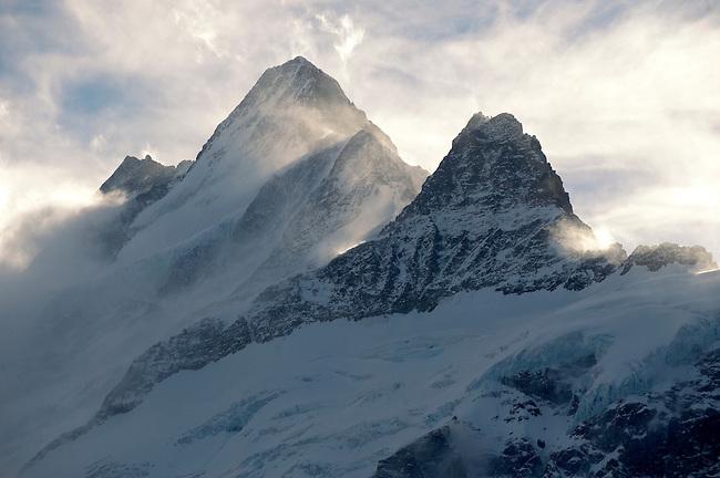 alps alpine mountain snow Swiss Schreckhorn winter