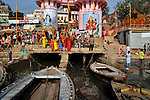 A big sewage canal entering Ganga at Dasaswamedh Ghat (the most religiously important and crowded ghat of Varanasi) where daily thousands of people take holydip in Varanasi, Uttar Pradesh, India.