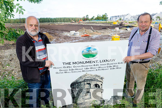 Frank Quilter (left) and Pat Joe Gilbert (right) at the site of the water treatment plant in Lixnaw, where they hope to replicate and re build the Monument which was demolished in 1957.