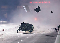 Sep 1, 2019; Clermont, IN, USA; NHRA pro mod driver Chad Green crashes during qualifying for the US Nationals at Lucas Oil Raceway. Green was awake and alert and has been transported to a local hospital for further evaluation. Mandatory Credit: Mark J. Rebilas-USA TODAY Sports