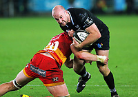 Brendon Leonard of the Ospreys (R) is brought down by Aaron Wainwright of the Dragons during the Guinness PRO14 match between Ospreys and Dragons at The Liberty Stadium, Swansea, Wales, UK. Friday 27 October 2017