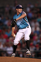 Rochester Red Wings pitcher Cole DeVries #21 delivers a pitch during a game against the Indianapolis Indians at Frontier Field on June 18, 2011 in Rochester, New York.  Rochester defeated Indianapolis 12-7 on Star Wars night where the team wore special jerseys.  (Mike Janes/Four Seam Images)