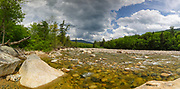Panoramic of the East Branch of the Pemigewasset River in Lincoln, New Hampshire USA during the spring months. This image consists of four images stitched together.