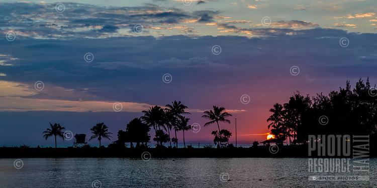 Salt Pond Beach Park at sunset, Hanapepe, Kaua'i.
