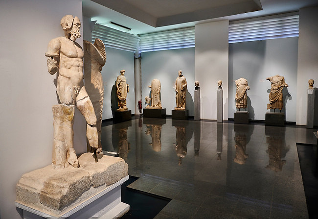 Interior of Aphrodisias Museum showing Roman statues from the archaeological site of Aphrodisias, , Aphrodisias, Turkey.