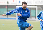 St Johnstone Training….31.03.17<br />Paul Paton pictured training on the astroturf at McDiarmid Park this morning ahead of tomorrow's game at Hamilton.<br />Picture by Graeme Hart.<br />Copyright Perthshire Picture Agency<br />Tel: 01738 623350  Mobile: 07990 594431