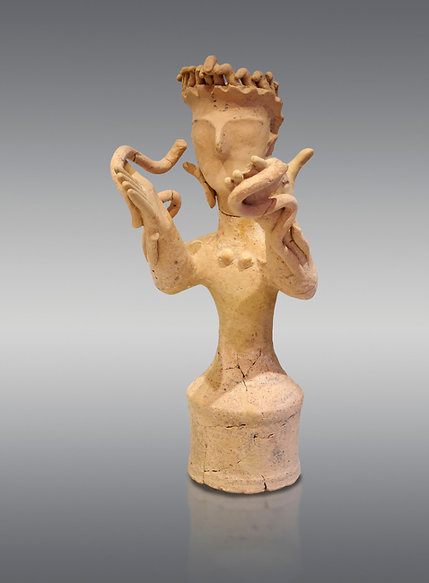 Minoan Postpalatial terracotta  goddess statue with raised arms holding snakes, Kannia Sanctuary,  Gortys, 1350-1250 BC, Heraklion Archaeological Museum, grey background. <br /> <br /> The Goddesses are crowned with symbols of earth and sky in the shapes of snakes and birds, describing attributes of the goddess as protector of nature.