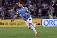 28th August 2021; Olympic Stadium, Rome, Italy; Serie A football, SS Lazio versus AC Spezia : Elseid Hysaj of Lazio celebrates after scores 5 -1 in 70th minutes