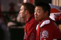 Hank Congor #16 of the Los Angeles Angels between innings against the Cleveland Indians at Angel Stadium in Anaheim,California on April 11, 2011. Photo by Larry Goren/Four Seam Images