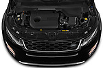 Car Stock 2021 Land Rover Range-Rover-Evoque R-Dynamic 5 Door SUV Engine  high angle detail view