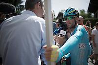 Vincenzo Nibali (ITA/Astana) interviewed after finishing<br /> <br /> Stage 18 (ITT) - Sallanches › Megève (17km)<br /> 103rd Tour de France 2016