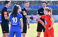 midfielder Sien Vandersanden (10) of KRC Genk and Jana Simons (8) of Woluwe pictured with the referees ahead of a female soccer game between FC Femina White Star Woluwe and KRC Genk on the 17 th matchday of the 2020 - 2021 season of Belgian Scooore Womens Super League , Saturday 20 th of March 2021  in Woluwe , Belgium . PHOTO SPORTPIX.BE | SPP | JILL DELSAUX