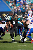 Jacksonville Jaguars quarterback Blake Bortles (5) scrambles during an NFL Wild-Card football game against the Buffalo Bills, Sunday, January 7, 2018, in Jacksonville, Fla.  (Mike Janes Photography)